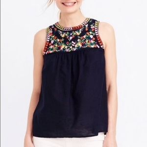 J. Crew Navy Floral Embroidered Linen Tank Size 6